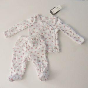 Baby Gap Rosebud Footie + Snap Tee Set Size 0-3M
